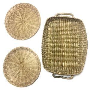 VINTAGE Woven Wicker Bohemian Baskets Bundle of 3
